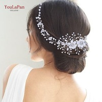 YouLaPan HP295 Flower Headwear Wedding Headband for Bride Crystal Pearls Women Tiara Bridal Headpieces Hair Jewelry Accessories 1