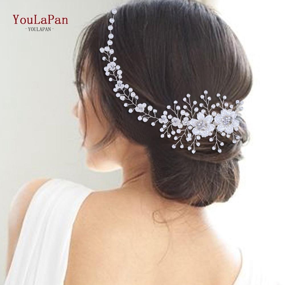 Головной убор YouLaPan HP295 с цветами, свадебная повязка на голову для невесты, Хрустальный жемчуг, Женская тиара, свадебные головные уборы, аксес...