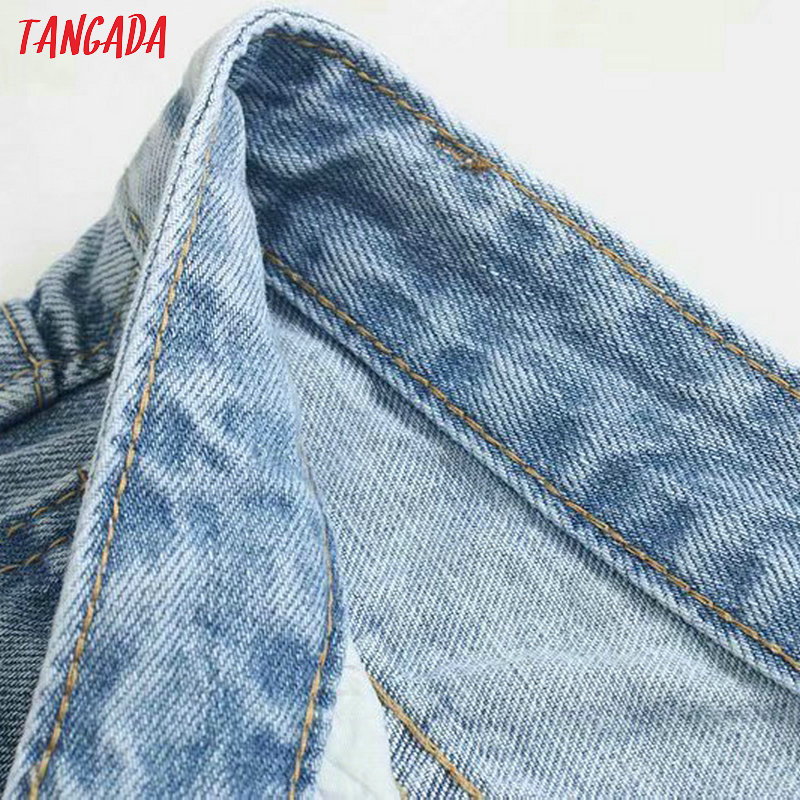 Tangada fashion women loose mom jeans long trousers pockets zipper loose streetwear female blue denim pants 4M38 3