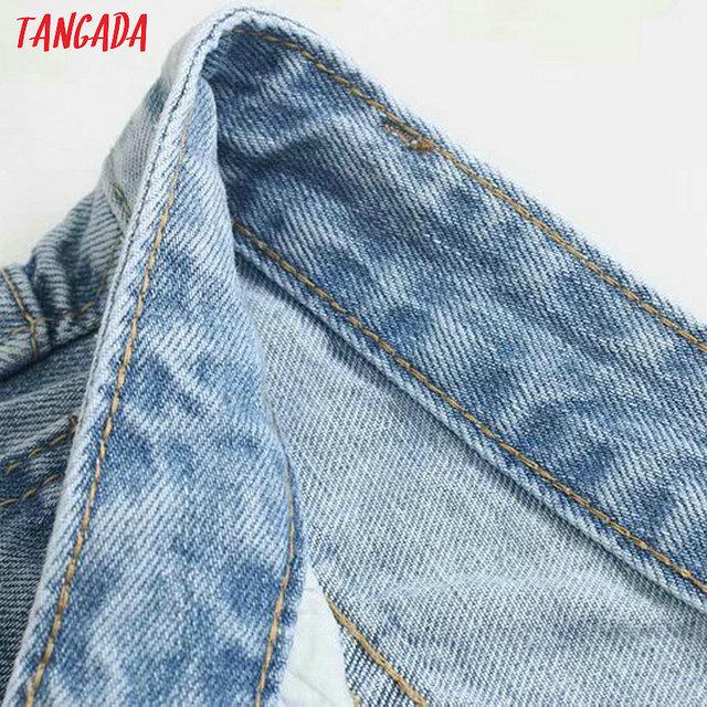Tangada fashion women loose mom jeans long trousers pockets zipper loose streetwear female blue denim pants 4M38 3