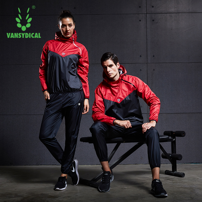 VANSYDICAL Sauna Suit Mens Womens Gym Clothing Set Hoodies Pullover Sportswear Running Fitness Weight Loss Sweating Sports Suit