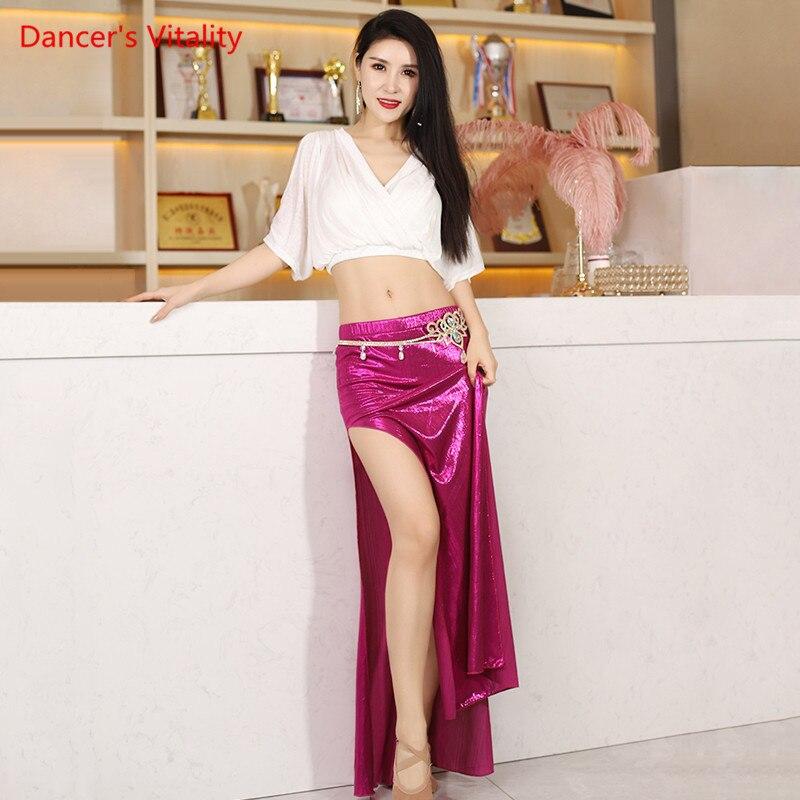 Belly Dance Top Or Skirt V-Neck Shirt Split Skirt Performance Practice Clothes Oriental Dancing Female Elegant Practice Clothing