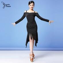 New Off Shoulder Latin Dance Costume Set Black Dance Skirt for Women Dancer Adult Latin Dancing Practice Clothes Long Sleeve Top