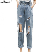NEW Denim Ripped Hole Pencil Pants Women Vintage Skinny Ankle-length Jeans Woman Ruffles Female High Waist Slim Stretch Trousers