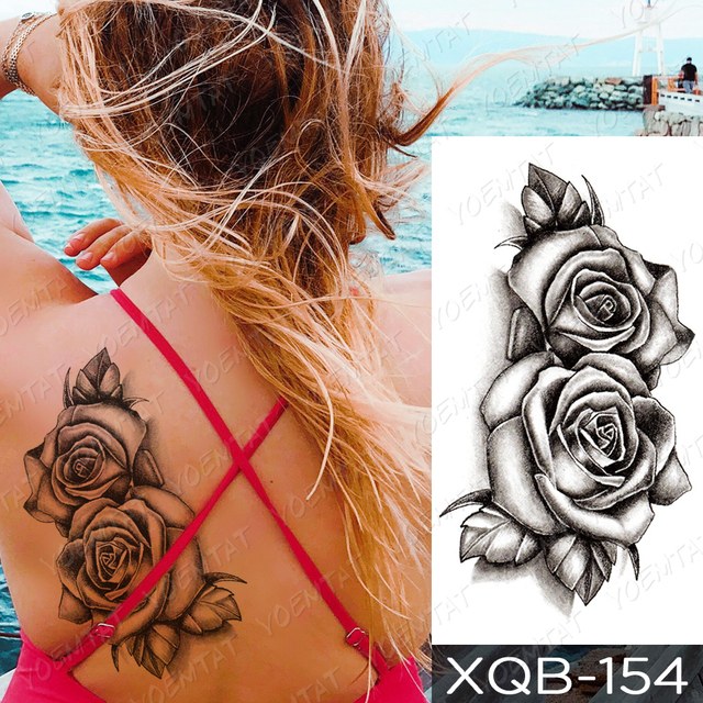 Waterproof Temporary Tattoo Sticker I Love You Flash Tattoos Lip Print Butterfly Flowers Body Art Arm Fake Sleeve Tatoo Women 4