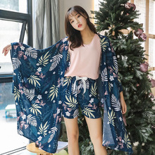 4 Pieces/Set Women Blue Print Pajamas Loose Casual Sleepwear Suit Spring Autumn New Nightgown Sweet Fashion Home Clothes 44-70KG