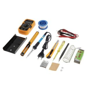 Soldering Iron Kit,Soldering Iron 60 W Adjustable Temperature,Digital Multimeter Cutter Soldering Iron Tip Set (220 V, EU Plug)