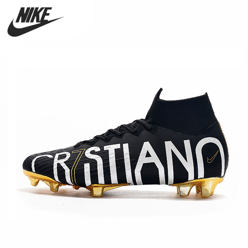NIKE Mercurial Superfly VI Flyknit <font><b>360</b></font> Elite CR7 SE FG 35-45 Football Boots Soccer Cleats <font><b>Shoes</b></font> Men LVL UP Football <font><b>Shoes</b></font> image