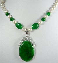 fancy design Beautiful white pearl & green jades & jades pendant Necklace free shipping(China)