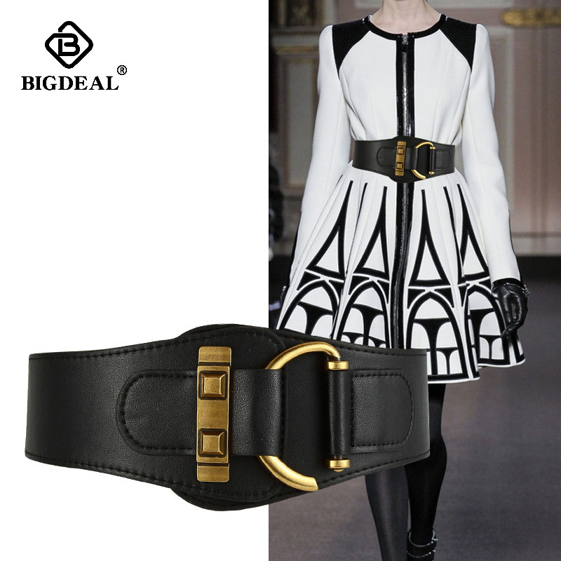 New Vintage Gold Semi-circular Buckle Wide Belt Female Cowskin Genuine Leather Waist Belts For Women Strap Girdle Dress Coat