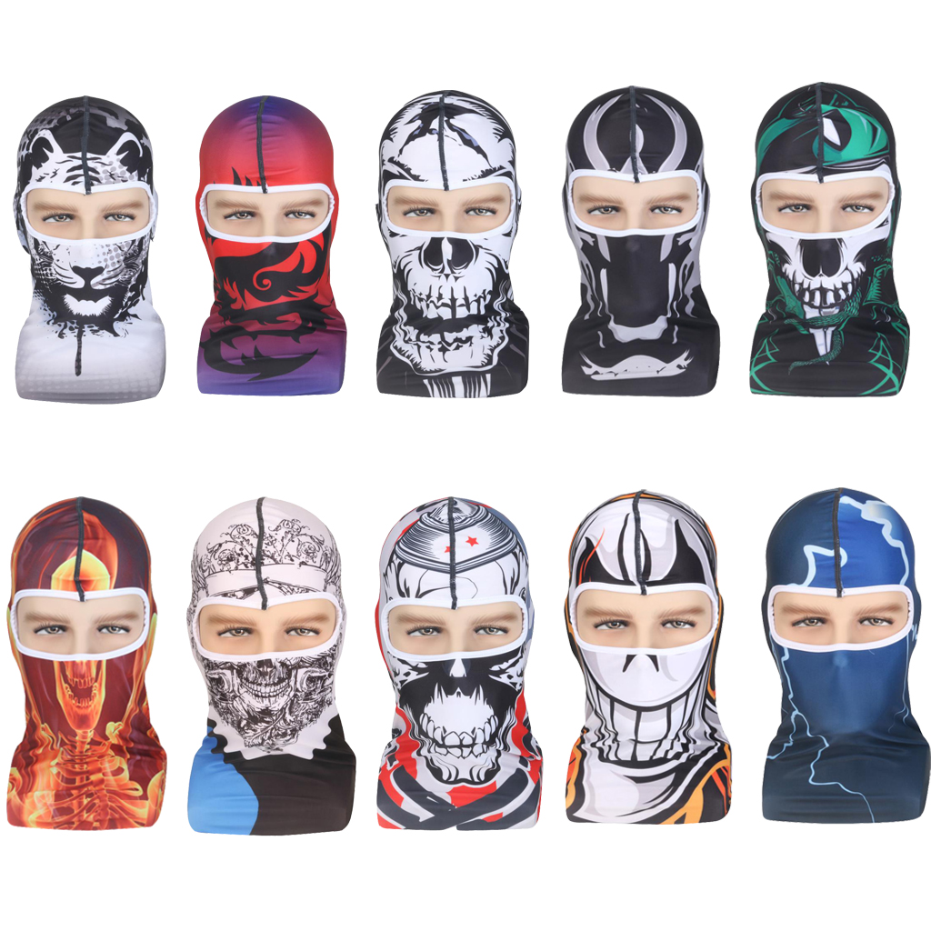 Skull Balaclava Windproof Breathable 3D Outdoor Sports Cycling Ski Thermal Polyester Neck Hood Full Face Mask Hat