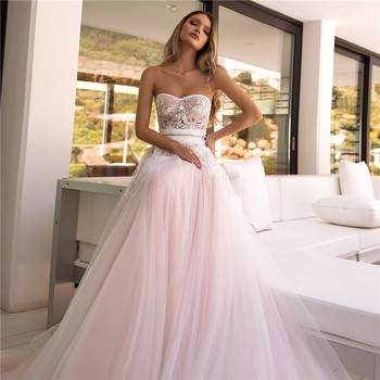 Verngo Fairy Tulle Blush Pink A Line Wedding Dress Beach Sweetheart Applique Garden Country Bridal Gowns Boho Elegant