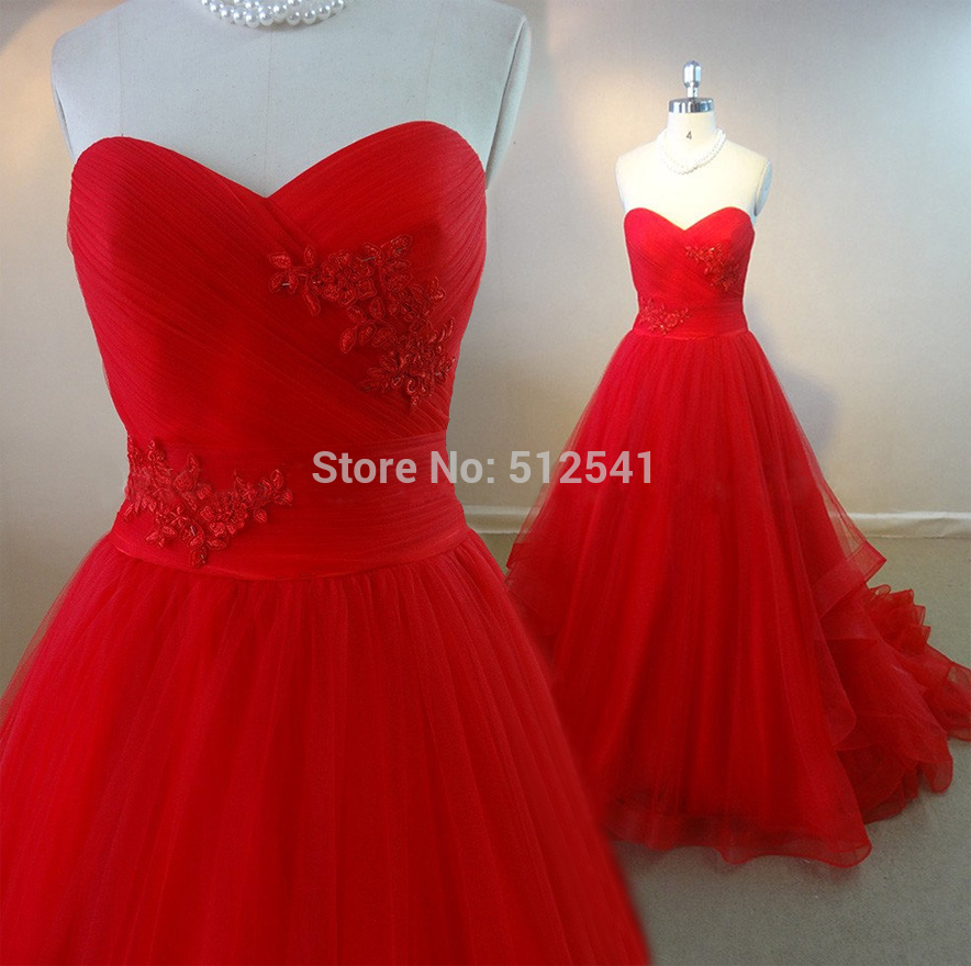 Top Quality Red Wedding Dress A Line Sweetheart Pleat Ruffle Sweep Train Really Images Bridal Gowns 2019 Vestido De Noiva