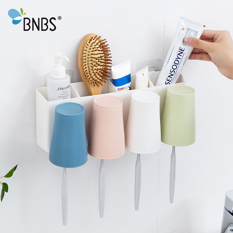 Bathroom Accessories Wall Rack Toothbrush Cup Toothpaste Holder Case Organizer Stand For Toothbrushes Support Brush Teeth image