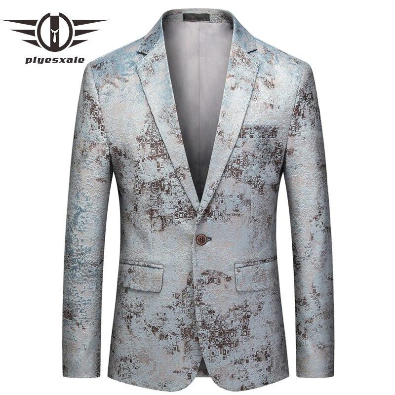 Светло зеленый блейзер для мужчин, большой размер, M 6XL, мужской повседневный Блейзер, куртка, приталенный Свадебный сценический блейзер для ...