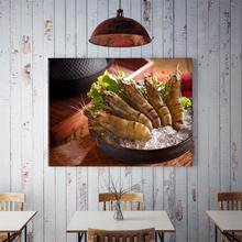 60x40cm Delicious Fresh Shrimp Restaurant Kitchen Hanging Painting Home Background Wall Wall Decoration Painting