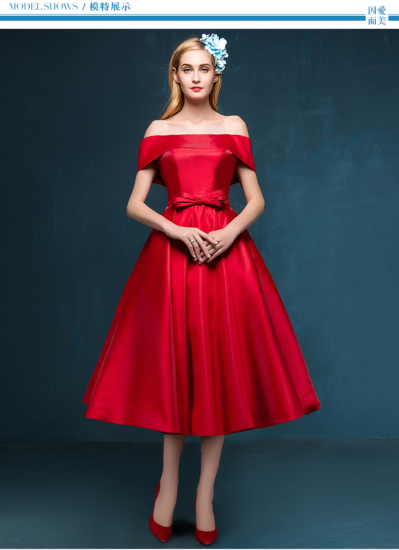 Free Shipping Party Prom Gown 2018 Red Satin Boat Neck Sexy Custom Bow Sashes Cap Sleeve A-line Tea-length Bridesmaid Dresses