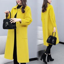 Women Elegant Wool Overcoat 2019 Autumn Winter Single Breasted Long Slim