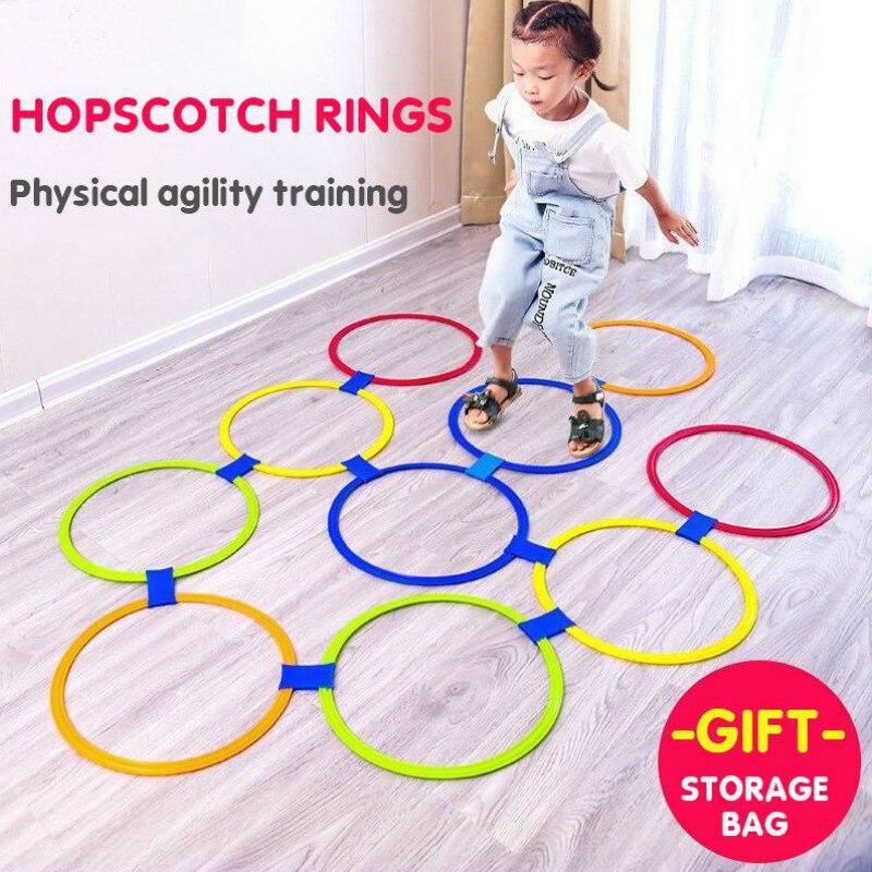 Çocuk oyunları seksek Jump yüzükler seti çocuklar duyusal oyun kapalı açık 10 çemberler ve 10 konektörler eğitim spor oyuncak
