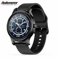 ASKMEER R2 reloj inteligente redondo hombres mujeres deporte Bluetooth llamada música Monitor de ritmo cardíaco Touch Smartwatch Fitness Tracker pulseras