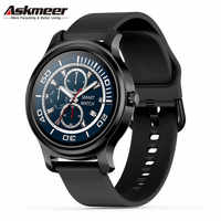 ASKMEER R2 Runde Smart Uhr Männer Frauen Sport Bluetooth Anruf Musik Herz Rate Monitor Touch Smartwatch Fitness Tracker Armbänder