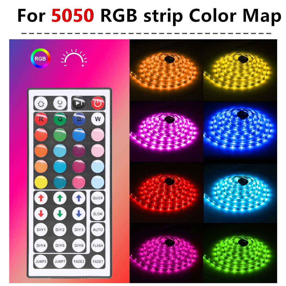 Usb RGB LED Controller 44 Kunci IR Nirkabel Mini Remote Control DC 5V untuk 2835 5050 SMD RGB LED lampu Strip