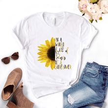 In a world full of roses be a sunflower Women tshirt Cotton Casual Funny t shirt Gift For Lady Yong