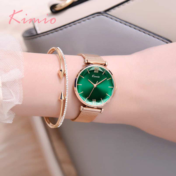 New Kimio Brand Luxury Women Milanese Mesh Belt Watches Simple Ladies Green Big Dial Dress Watch Rose Gold Bracelet Wristwatch