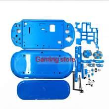 Preto/branco/azul para psvita para ps vita psv 2000 caixa de plástico escudo capa frontal e traseira borda botão de volume de parafuso de energia
