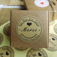 120pcs/pack Round Size Black Heart Merci Self-adhesive Security Baking Gift Sealing Sticker