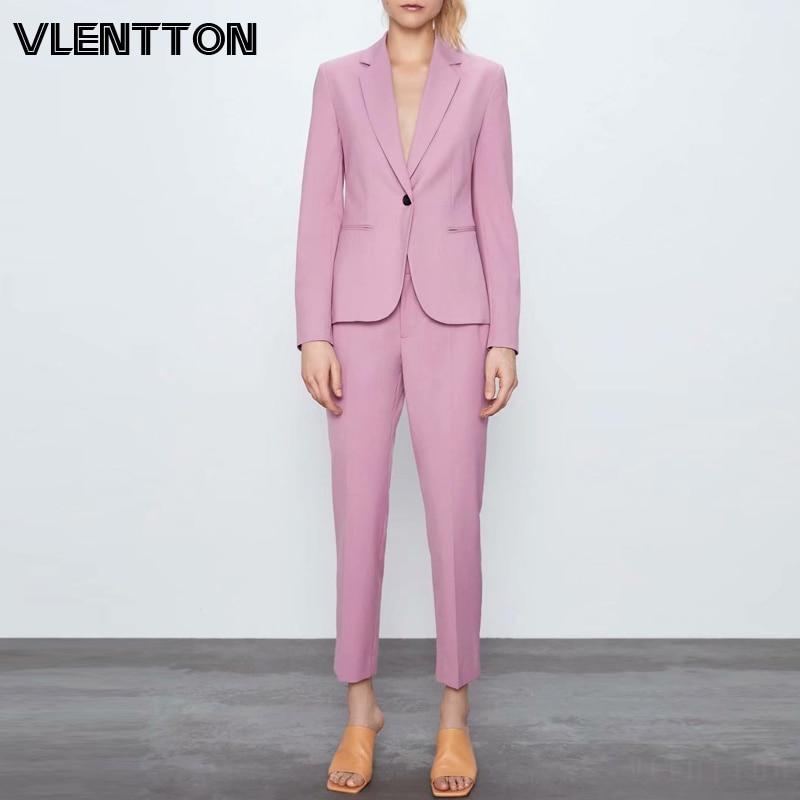 2020 Spring Autumn Pink Purple Pants Suit Women Single Button Office Lady Blazer Jacket Coat+Zipper Trouser Two Piece Set Female
