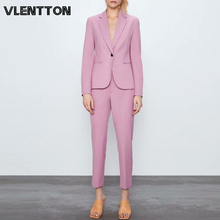 2020 Spring Autumn Pink Purple Pants Suit Women Single Button Office Lady Blazer Jacket Coat+Zipper Trouser Two Piece Set Female