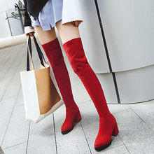 Sgesvier Flock solid high heel shoes woman autumn winter over the knee boots female round toe fashion Elastic boots elegant G742 beautiful rose printed woman long boots 2018 autumn winter fashion female shoes woman over the knee boots pointed toe thin heel