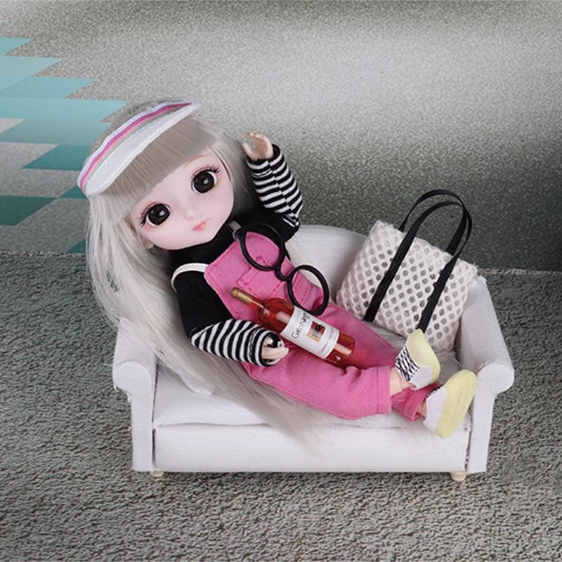 Muñeca BJD de 16cm con 13 articulaciones móviles, ojos en 3D de piel blanca, conjunto de juguetes de vestir para niña, regalo de decoración de Navidad y Año Nuevo|Muñecas| - AliExpress