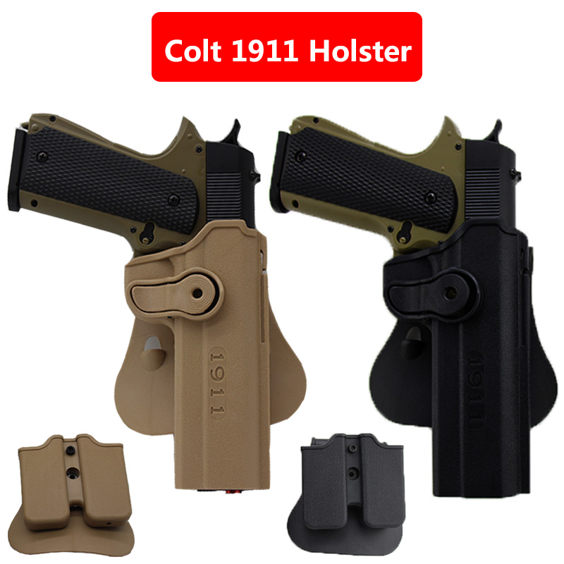 IMI Hunting Airsoft Colt Holster With Magazine Pouch For Colt 1911 Combat Tactical Military Gun Pistol Case Waist Black Sand