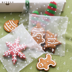 100Pcs Sweets Cookies Cake Transparent Bags Packaging Candy Cookie Plastic Bag with self adhesive Wedding Baby Birthday Party