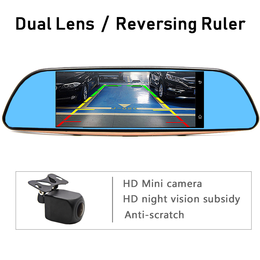 """Image 4 - Bluavido 7""""IPS 3G Android Car rearview mirror DVR GPS Navigation full hd 1080P video Camera recorder WiFi Bluetooth Car detector-in DVR/Dash Camera from Automobiles & Motorcycles"""