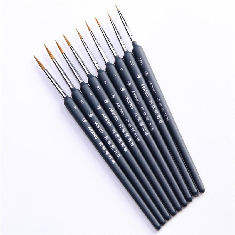 Черная Кисть для краски тонкая линия питания ручки офисный крючок для волос тонкая щетка ручная Волчья краска для рисования краска ed ручка