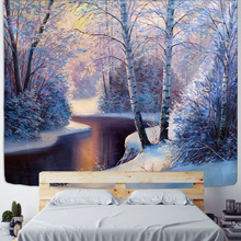 House Tapestry Ice and Snow Style Wall Hanging Merry Christmas Tapestry Village Wooden for Home Hand Wash Woven 100% Polyester