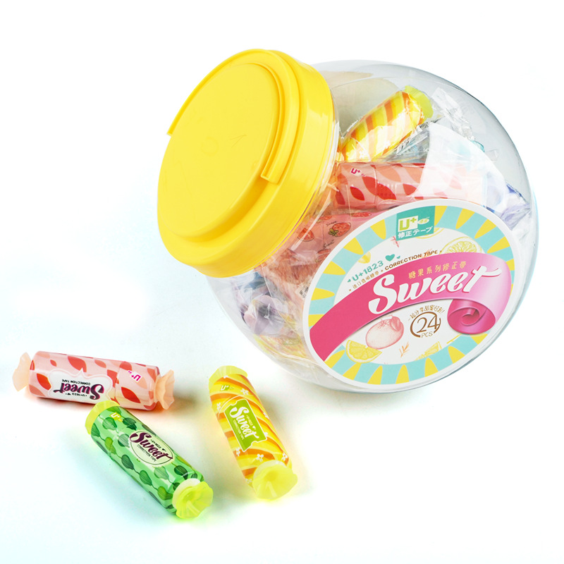 24 Pcs/Lot Sweet Candy Correction Tape 5mm White Masking Tapes Write On Corrective Tapes Stationery Office School Supplies A6905