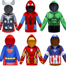 2019 Anak Laki-laki Hoodies Kaus Avengers Marvel Superhero Iron Man Thor Hulk Captain America Spiderman Sweatshirt Anak Laki-laki Mantel(China)