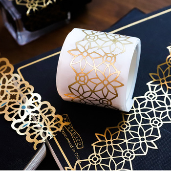 1 Pcs Retro Golden Hollow Series Lace Washi Masking Tape Release Paper Stickers Scrapbooking Label Stationery Decorative Tape