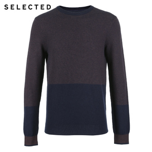 Image 5 - SELECTED Mens New Cotton Knitted Clothes Round Collar Pure Color Long sleeved Pullover Sweater S