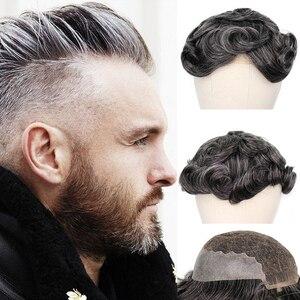 YY peruki 1B 40% szary ludzki włos tupecik dla mężczyzn szwajcarska koronka i cienki PU Remy System wymiany włosów dla mężczyzn 6 Cal Curl Human HairPiece