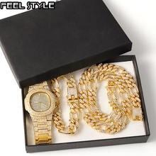 Ожерелье в стиле хип хоп для мужчин 3 шт/компл выложенное стэпера