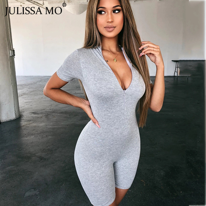 JULISSA MO V Neck Short Sleeve Playsuit Sexy Zipper Slim Women Rompers Jumpsu Summer 2020 Female Black Casual Fitness Overalls