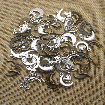 23pcs/lot Antique Silver Bronze Mixed Styles Moon Charms Pendants DIY Jewelry for Necklace Bracelet Making Accessaries Z1192 50g 100g letters mixed charms pendants vintage antique bronze silver bracelets necklaces craft metal alloy diy jewelry making