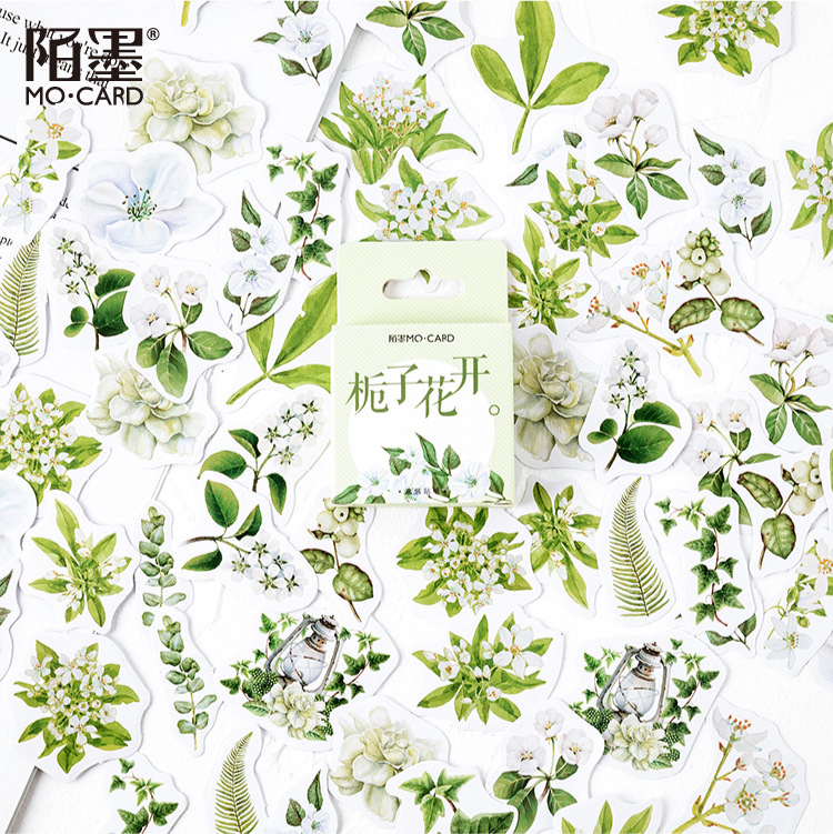 46 Pcs/pack Gardenia Plant Bullet Journal Decorative Washi Stickers Scrapbooking Stick Label Diary Stationery Album Stickers