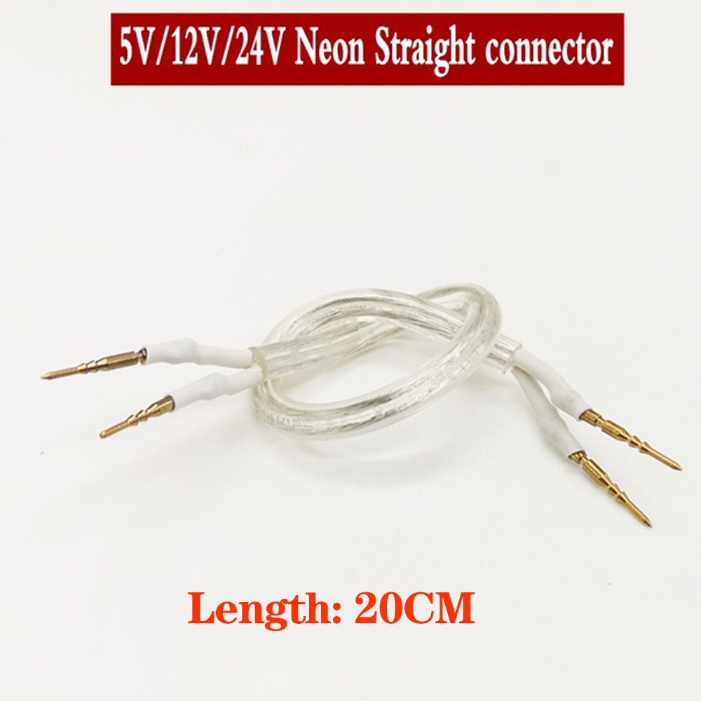 20CM Neon Connector 2Pins With Cable For DC12V DC24V DC5V AC220V AC110V Single Color Led Neon Rope Middle Connection White Color