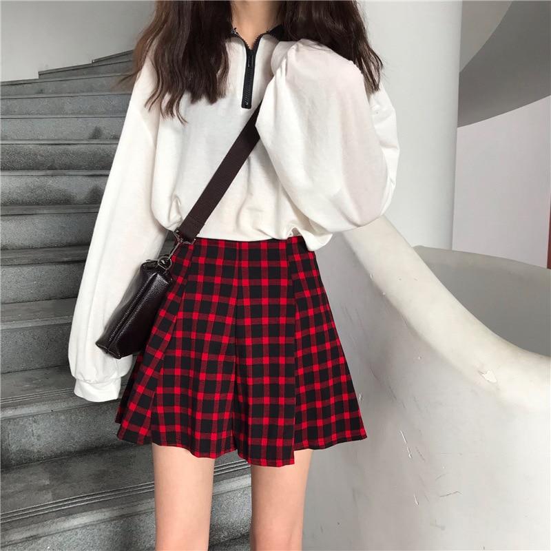[Zheng Teng] 2019 Summer New Style Korean-style Plaid Slimming Pleated Skirt Short Skirt Skirt A- Line Skirt Soft Girl Skirt Wom
